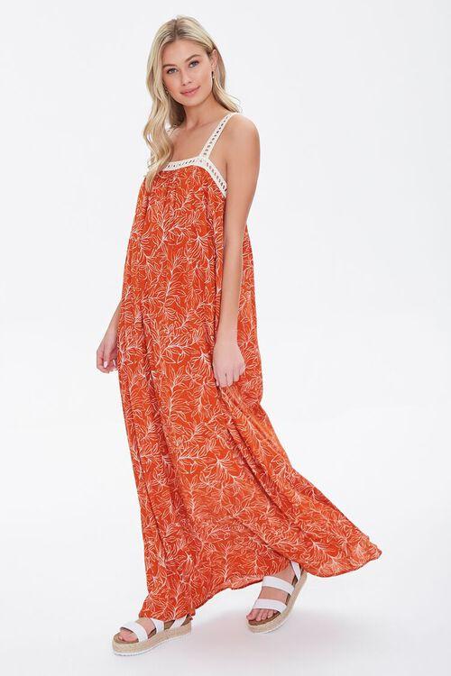 Leaf Print Crochet-Trim Dress, image 1