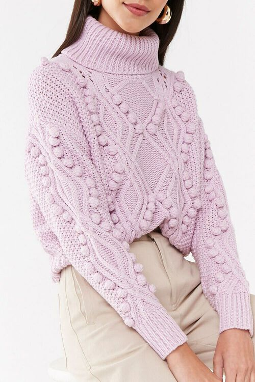 Turtleneck Cable-Knit Pom Pom Sweater, image 1