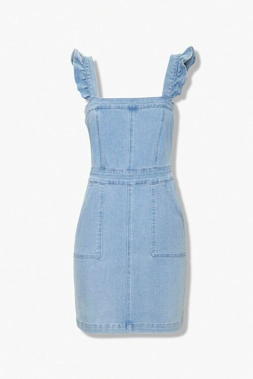 Ruffled Denim Sheath Dress, image 1