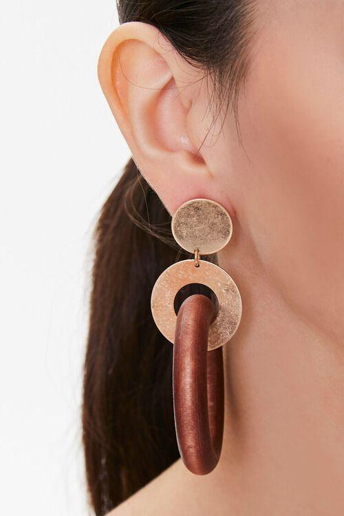 Wooden Hoop Drop Earrings, image 2