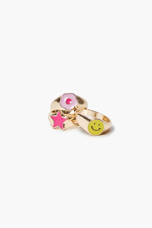 Assorted Happy Face Ring Set, image 1