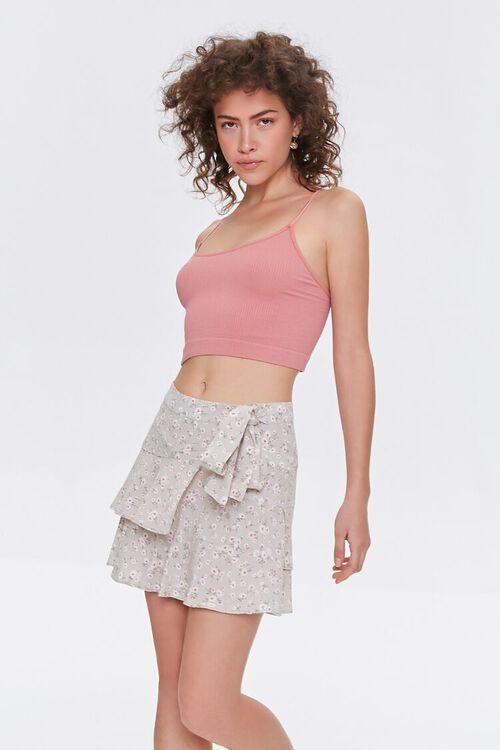 Floral Tulip-Hem Mini Skirt, image 1