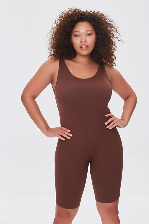 Plus Size Sleeveless Fitted Romper, image 1