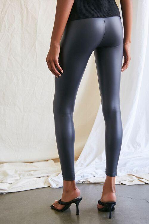 BLACK Faux Leather High-Rise Leggings, image 4