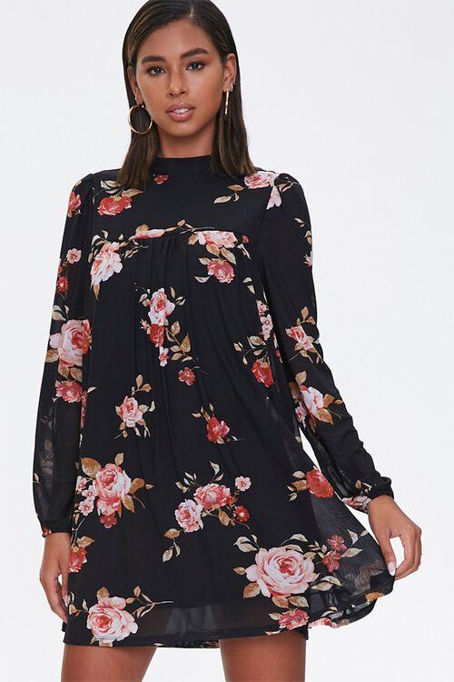 Floral Mock Neck Swing Dress, image 1