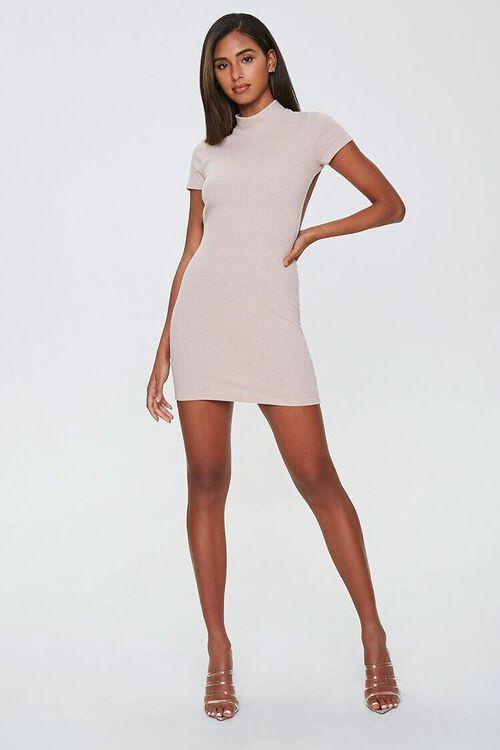 TAUPE Ribbed Open-Back Mini Dress, image 4