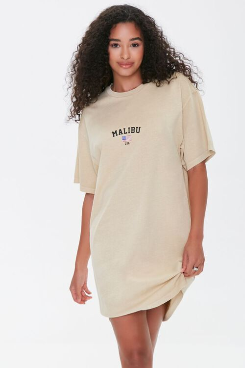 TAUPE/MULTI Malibu Graphic T-Shirt Dress, image 1