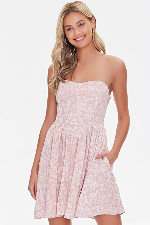 Floral Print Sweetheart Dress, image 1