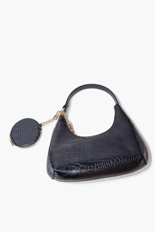 Faux Croc Leather Shoulder Bag, image 4