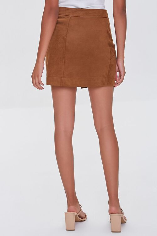 CAMEL Faux Suede Wrap-Front Skirt, image 4