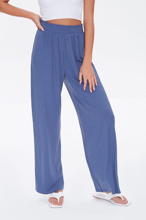 Ribbed Knit Wide-Leg Pants, image 2