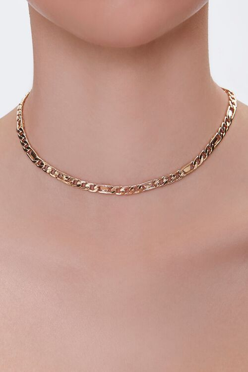 GOLD Figaro Chain Choker Necklace, image 1