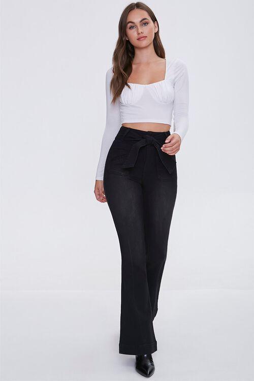 Sash Bow-Belt Flare Jeans, image 1