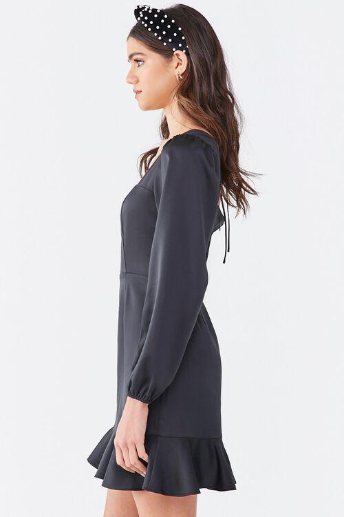 BLACK Flounce Satin Mini Dress, image 2