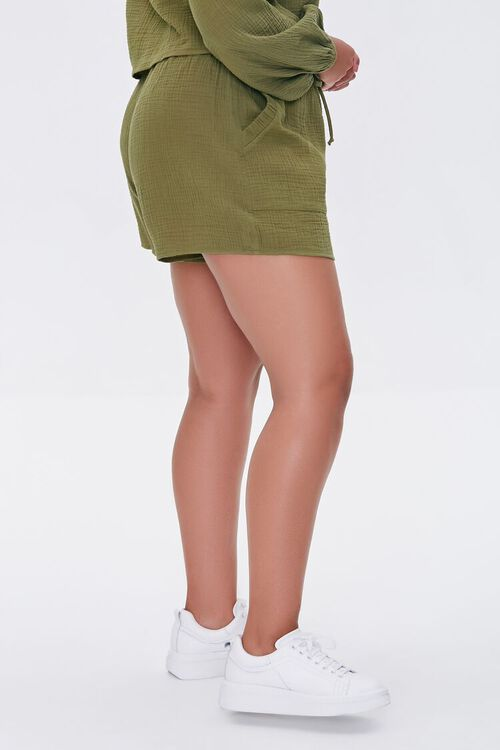 Plus Size Textured Drawstring Shorts, image 3
