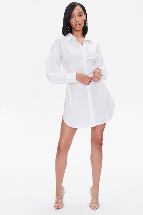 Poplin Lace-Up Shirt Dress, image 4