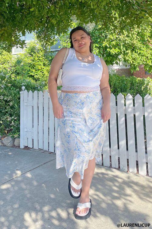 Plus Size Satin Floral Midi Skirt, image 1