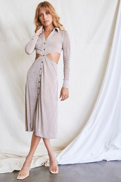 OYSTER GREY Button-Front Cutout Dress, image 1