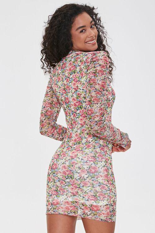 PINK/MULTI Floral Bodycon Mini Dress, image 3