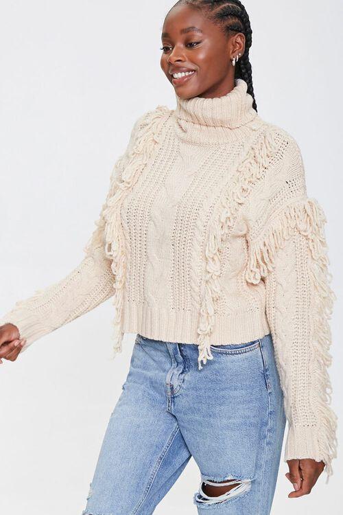Loop-Knit Trim Turtleneck Sweater, image 1