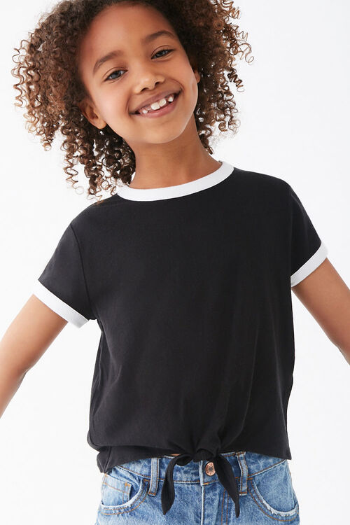 Girls Knotted Front Ringer Tee (Kids), image 1