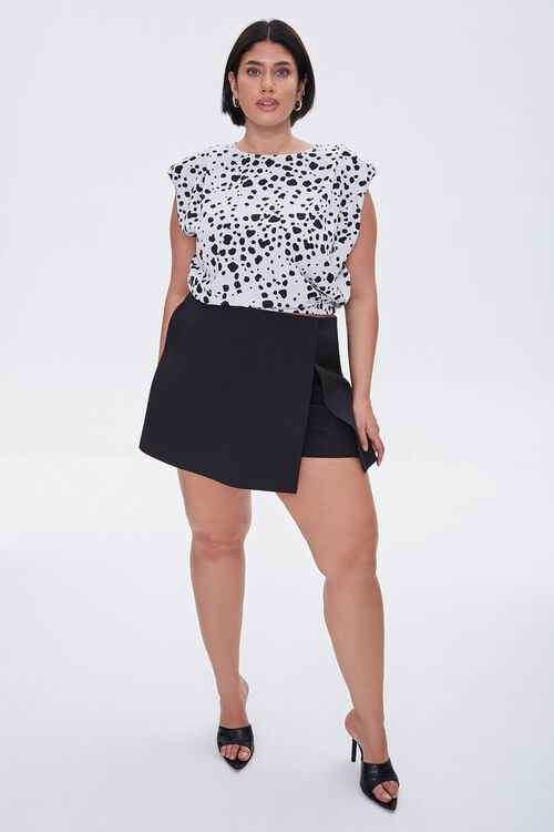Plus Size Spotted Print Crop Top, image 4