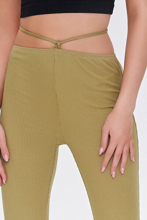 OLIVE Ribbed Knit Self-Tie Flare Pants, image 5