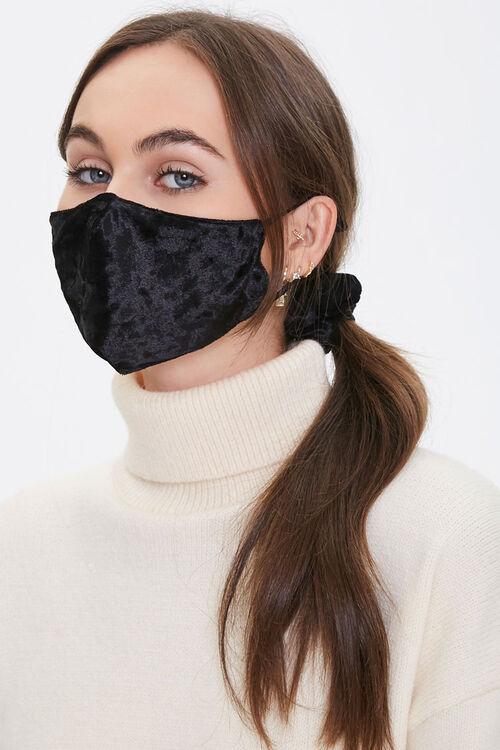 BLACK Velvet Face Mask & Scrunchie Set, image 1