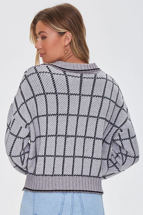 GREY/MULTI Split-Neck Plaid Sweater, image 3