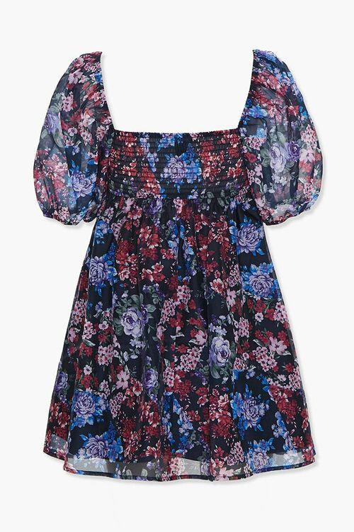 Floral Puff-Sleeve Mini Dress, image 2