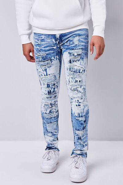 YULEgowinner Mens Jeans Ripped Washed Chic Denim Straight Leg Pants Shorts