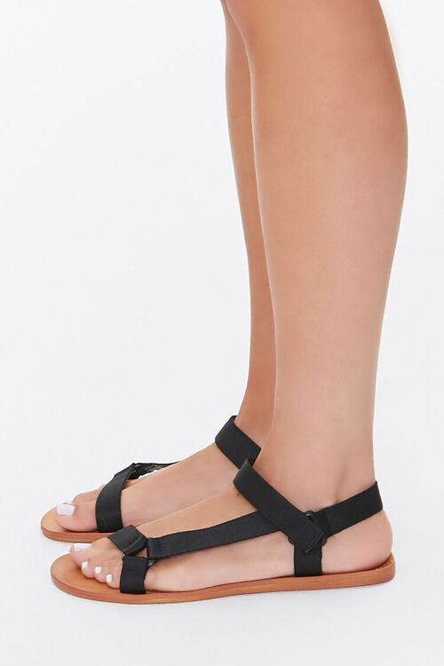 BLACK Adjustable Caged Flat Sandals, image 3