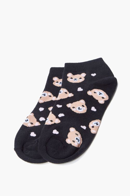 BLACK/MULTI Bear Print Ankle Socks, image 2