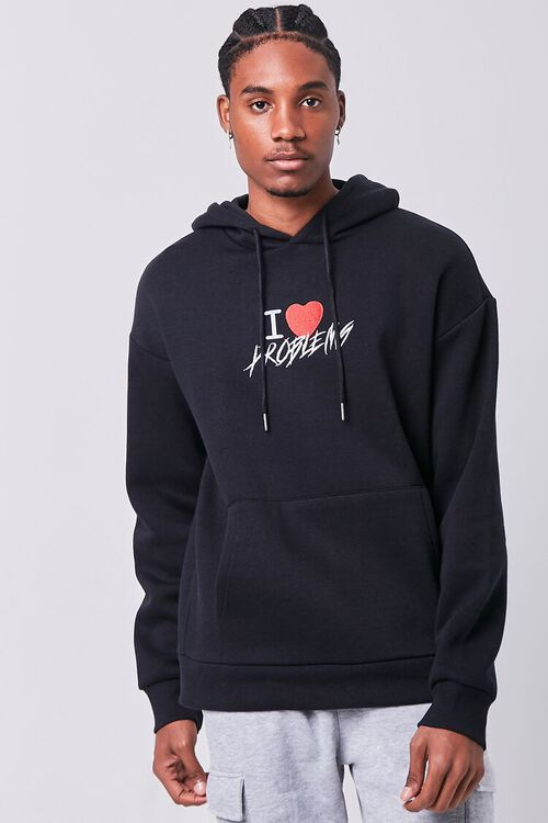 BLACK/MULTI Problems Embroidered Graphic Hoodie, image 6