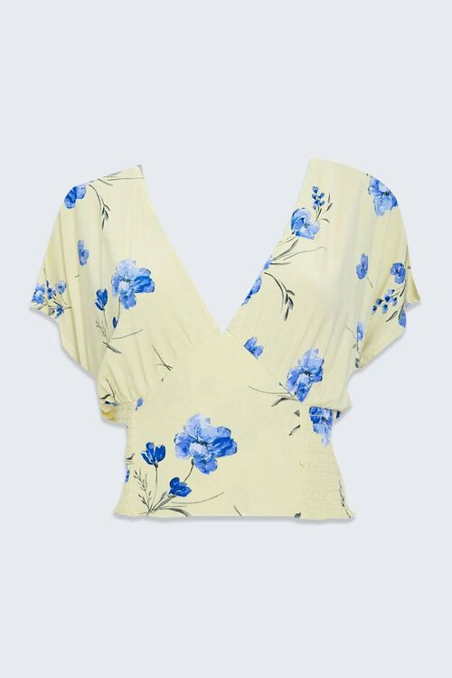 Floral Butterfly-Sleeve Crop Top, image 1