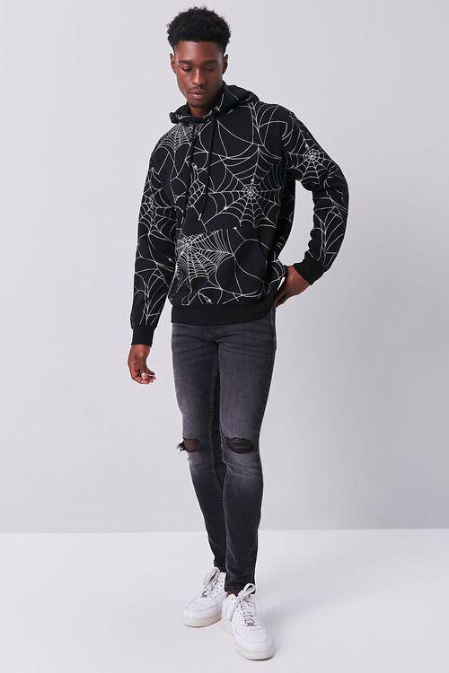 BLACK/MULTI Spiderweb Print Fleece Hoodie, image 4