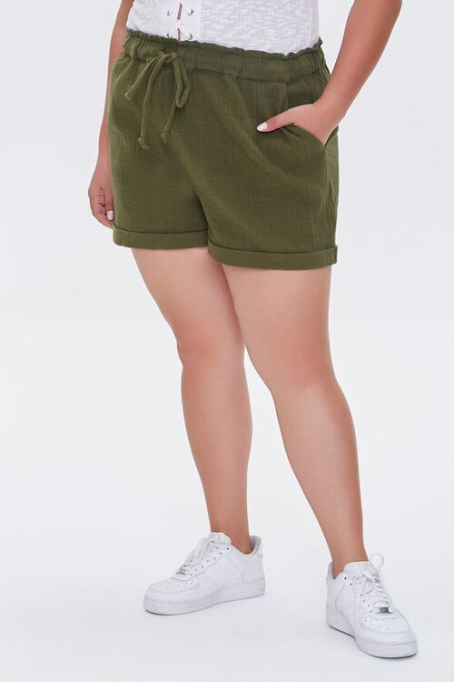 Plus Size Textured Drawstring Shorts, image 2