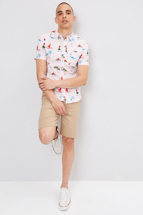 Fitted Pinstriped Tropical Shirt, image 4
