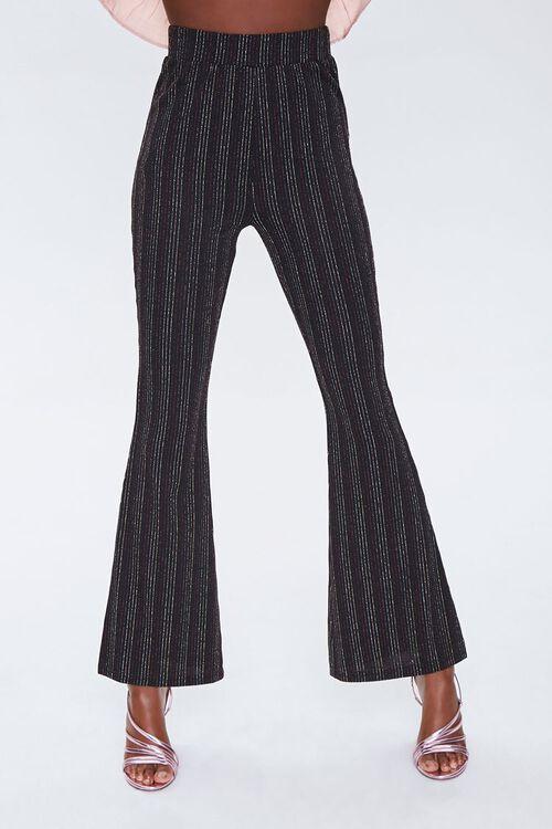 Metallic Pinstriped Flare Pants, image 1
