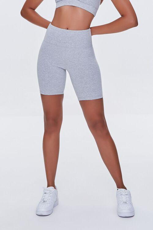 HEATHER GREY Heathered Biker Shorts, image 2