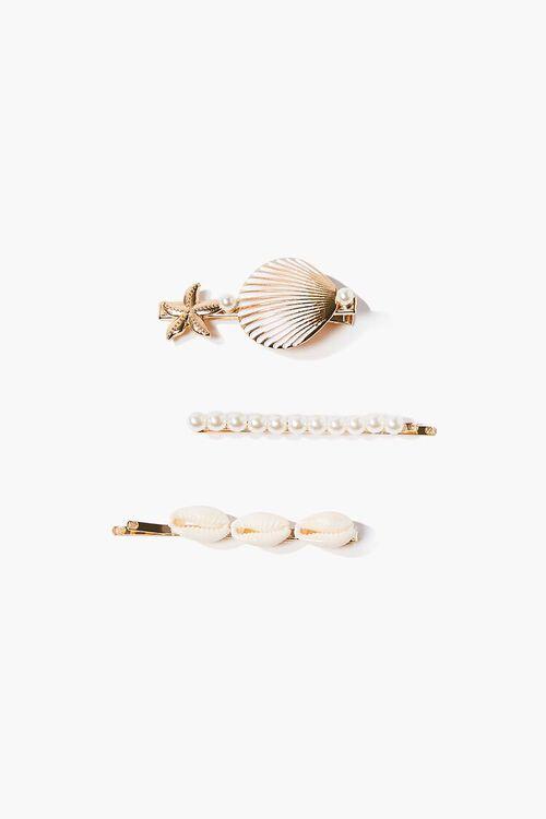GOLD Pearl & Shell Bobby Pin Set, image 1