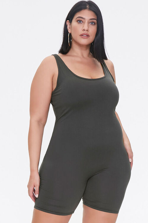 Plus Size Fitted Tank Romper, image 4