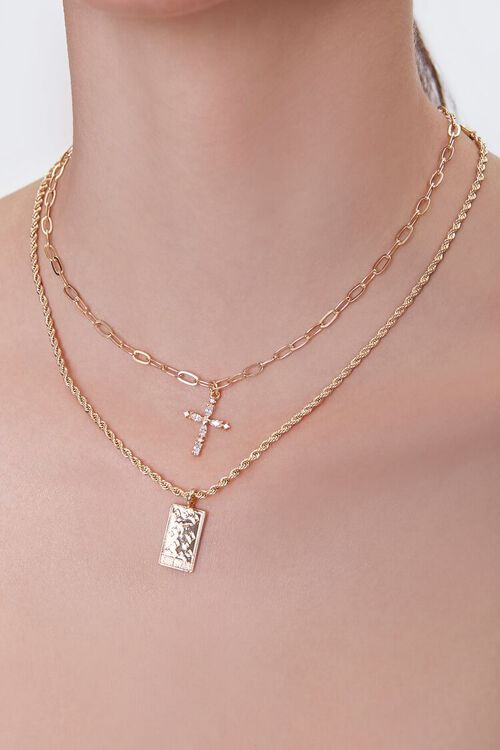 GOLD/CLEAR Rhinestone Cross Layered Necklace, image 1