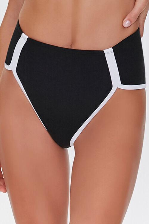 Contrast-Trim High-Waist Bikini Bottoms, image 2
