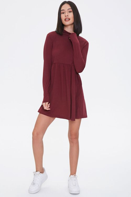 Mock Neck Mini Swing Dress, image 4