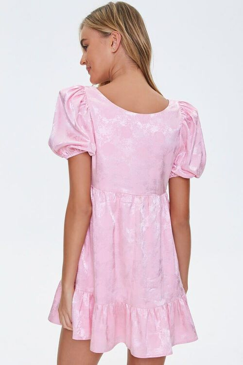 Satin Rose Print Shift Dress, image 3