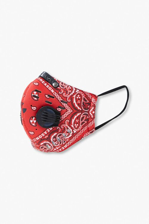RED/MULTI Men Paisley Face Mask, image 2