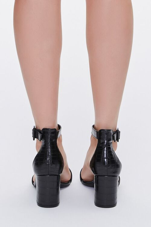 Faux Croc Leather Block Heels, image 3