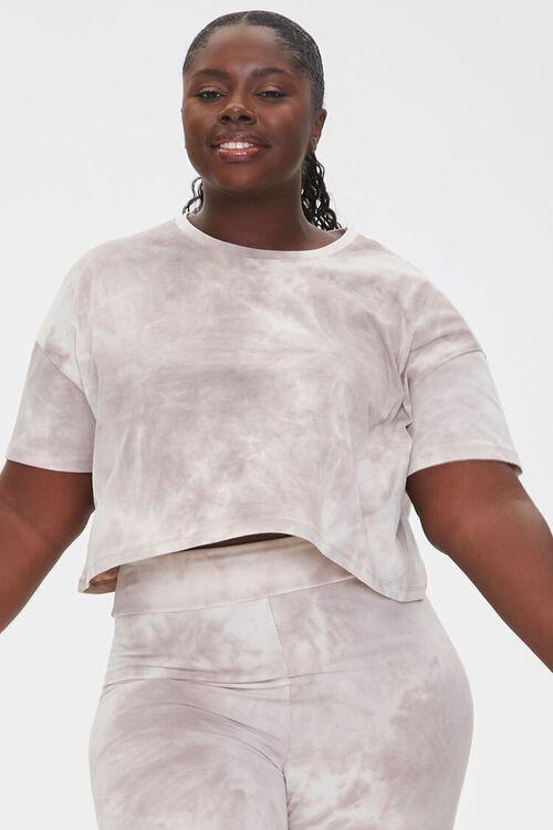 TAUPE/CREAM Plus Size Camo Tee & Shorts Set, image 5