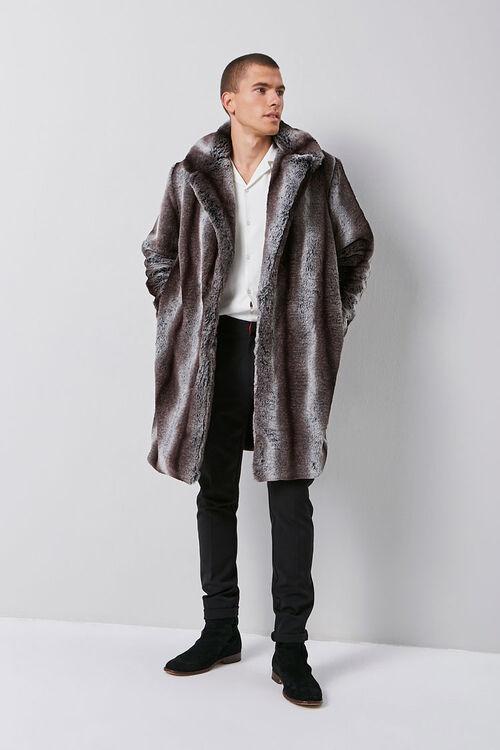 Faux Fur Striped Print Coat, image 4